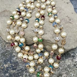 Vintage French pearl and crystal necklace